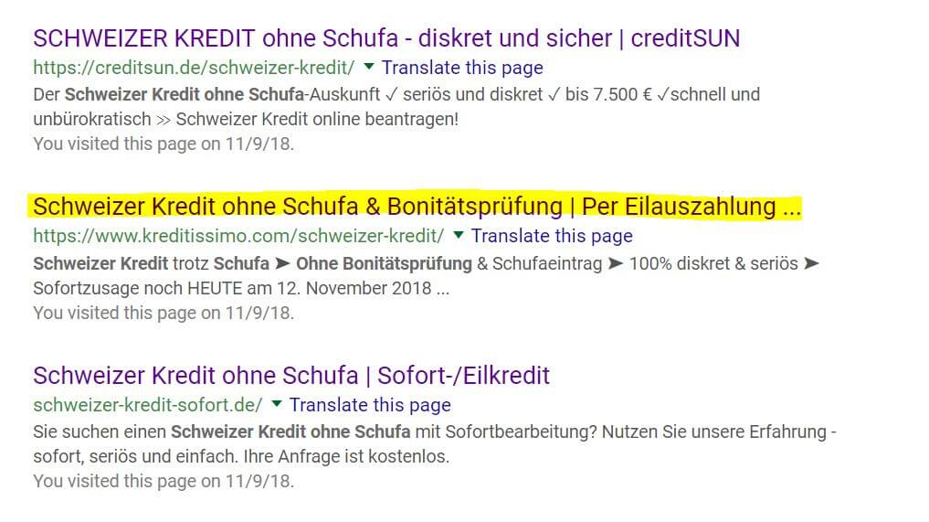Schweizer Kredit ohne Schufa Suchergebnisse Google